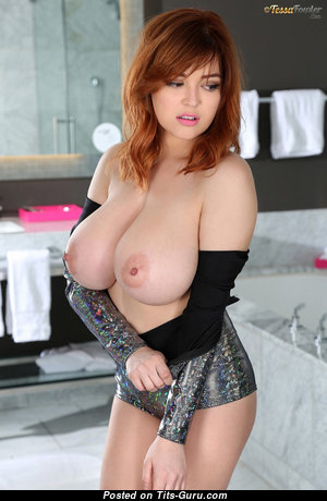 Tessa Fowler - Elegant Topless American Playboy Red Hair Girlfriend with Elegant Defenseless G Size Tits & Erect Nipples in Bikini (Hd Porn Picture)