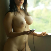 Hot woman with fake tits photo