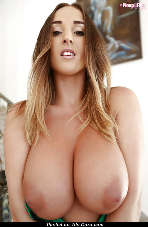 Image. Sexy topless blonde with big natural tittes and big nipples pic