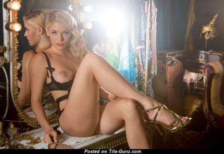 Carly Lauren - Splendid Topless American Playboy Blonde with Splendid Nude Fake Boobs & Sexy Legs in Lingerie & High Heels is Smoking (Xxx Photoshoot)