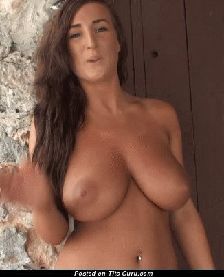 Image. Stacey Poole - nude brunette with huge natural tots gif