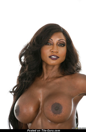Sexy naked ebony brunette with medium breast and big nipples image