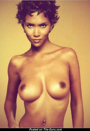 Image. Halle Berry - nude hot female with medium natural boob pic