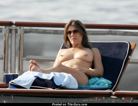 Elizabeth Hurley - Lovely British Brunette with Lovely Open Real Firm Knockers (Hd 18+ Photo)
