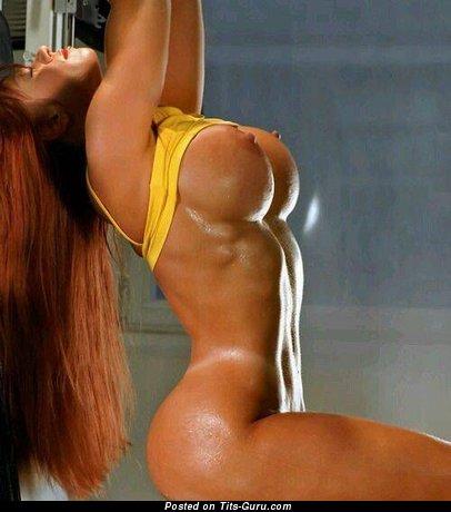 Splendid Red Hair & Brunette with Splendid Nude Fake Regular Boobs (18+ Foto)