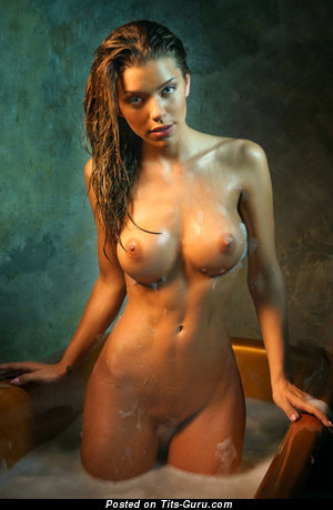 Sexy wet nude nice female with medium breast and big nipples picture
