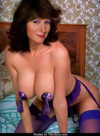 Marvelous Topless Playboy Doxy with Marvelous Defenseless Natural Big Sized Boobs (Vintage 18+ Image)