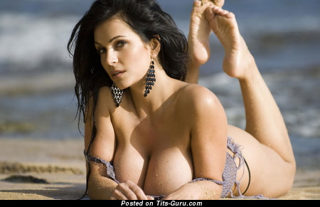 Denise Milani - Perfect Czech Brunette Babe with Perfect Bare Enormous Boobies in Bikini on the Beach (Hd 18+ Image)
