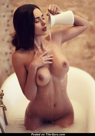 Helga Lovekaty & Good-Looking Topless & Wet Russian Red Hair & Brunette Babe with Good-Looking Nude Real Mega Boobs & Red Nipples in the Shower (Hd Porn Image)