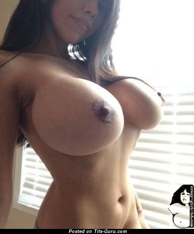Alluring Wet Asian & Latina Playboy Brunette Babe with Alluring Bare Fake G Size Tits & Long Nipples (Private Selfie 18+ Image)