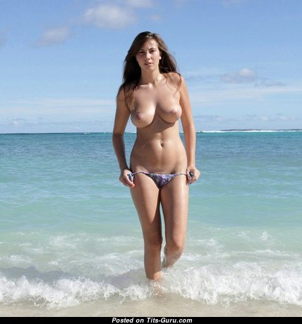 Connie Carter - Fine Topless Czech Brunette Babe & Pornstar with Fine Exposed Natural Soft Jugs & Piercing on the Beach (Sexual Pic)