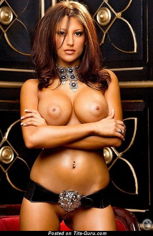 Image. Jesse Preston - sexy topless brunette with big fake boobs picture