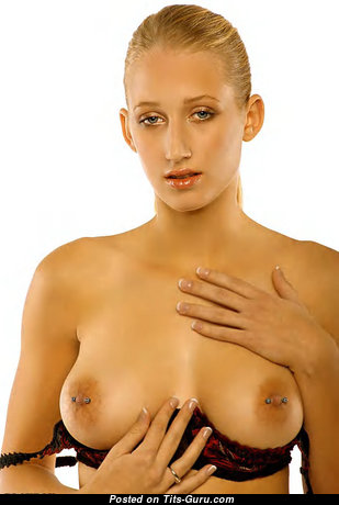 Wanda - Grand Wet & Topless Blonde with Grand Defenseless Natural G Size Titties, Huge Nipples, Piercing in Lingerie (on Public Xxx Photoshoot)
