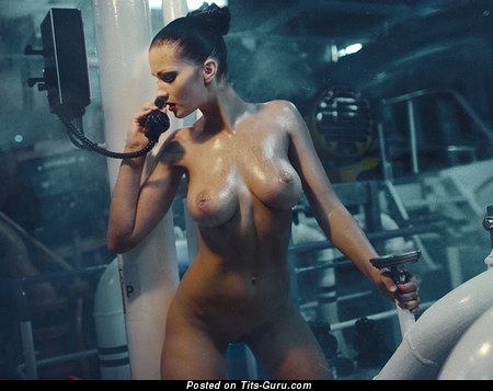 Awesome Wet Brunette with Awesome Defenseless Full Chest (18+ Image)