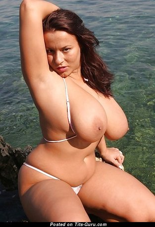 Image. Aneta Buena - naked brunette with huge natural boob image