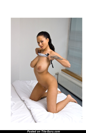 Domino - Elegant Glamour Latina Brunette with Elegant Exposed Natural Melons, Enormous Nipples, Tattoo is Undressing (Sex Photoshoot)