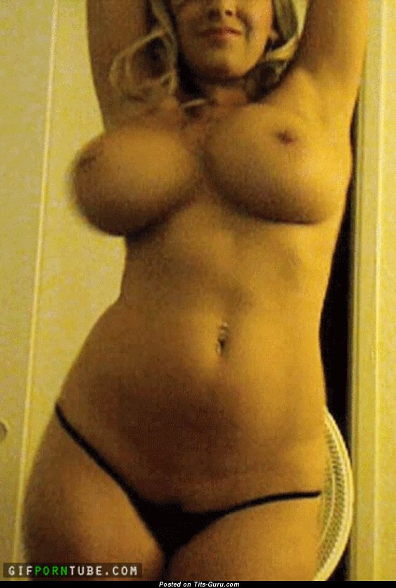 Image. Naked beautiful woman with big fake boobies gif