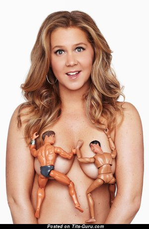 Amy Schumer - Amazing Topless American Blonde Actress with Amazing Naked Real Regular Titty (Hd Porn Photoshoot)