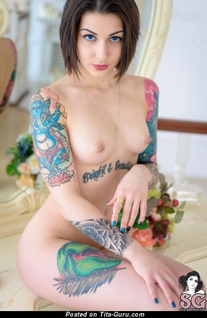 Handsome Topless Doxy with Handsome Bald Natural B Size Breasts, Tattoo & Piercing (4k Porn Foto)