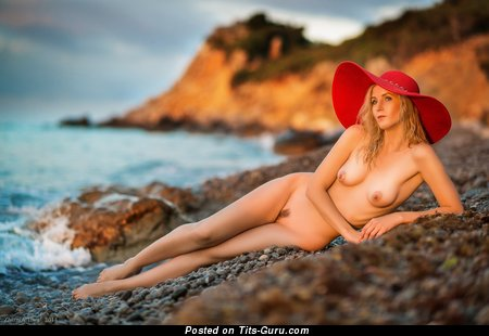 Pleasing Blonde with Pleasing Defenseless Real C Size Tots on the Beach (Hd Sexual Photo)