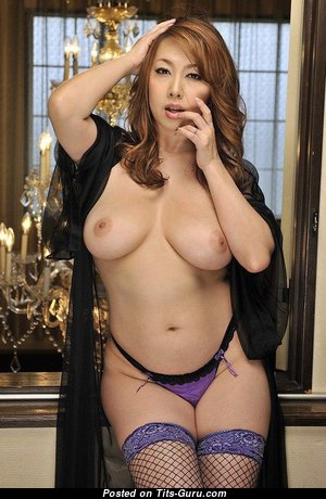 Yumi Kazama - Lovely Topless Japanese Red Hair Pornstar & Actress with Lovely Exposed Natural Medium Boobs in Stockings (Xxx Image)