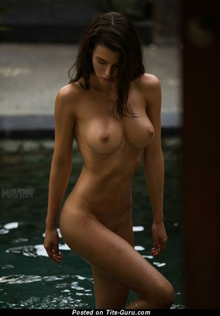 Image. Sexy naked brunette with medium natural tittes image