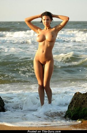 Image. Naked beautiful woman with big fake boob pic