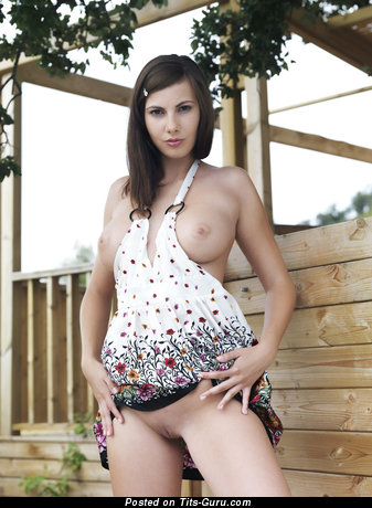 Image. Conny Carter - sexy topless brunette with natural boobies picture
