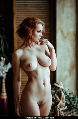 Image. Nude red hair with medium natural boobs photo