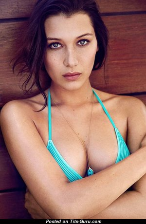 Bella Hadid & Exquisite Topless & Non-Nude American Brunette & Blonde Babe & Actress with Exquisite Natural C Size Tittys & Large Nipples (18+ Wallpaper)