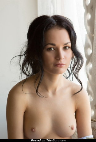 Image. Nude brunette with small natural tits picture