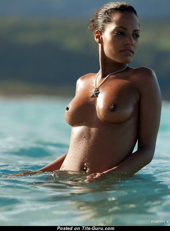 Ariane Hahnsch - Pleasing Topless & Wet Ebony Playboy Brunette with Pleasing Bare Natural Tittys (Hd 18+ Wallpaper)