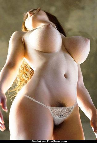 Huge Asian Boobs - Elegant Glamour & Topless Asian Brunette Babe & Pornstar with Elegant Defenseless Big Titty (Porn Photo)