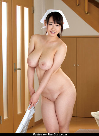 Hibiki Hoshino - Pleasing Topless Asian Nurse & Babe with Pleasing Nude Real Substantial Boobies (Porn Pic)