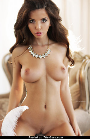 Nice Brunette Babe with Nice Bald Natural Medium Sized Boobys (Porn Photoshoot)