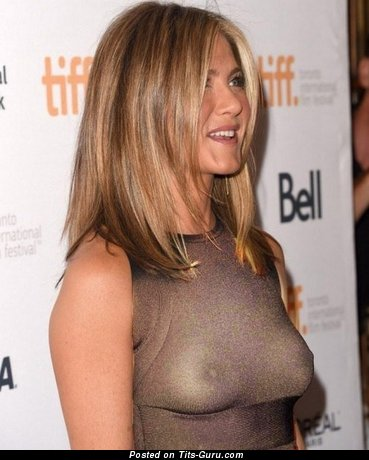 Jennifer Aniston - Adorable American Actress & Babe with Adorable Exposed Real Med Tit (18+ Image)