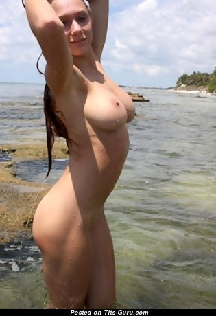 Angela - Appealing Wet & Glamour Unclothed Brunette with Weird Nipples, Tan Lines on the Beach (Hd Sex Picture)