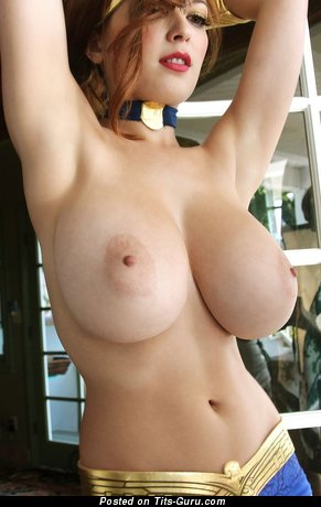 Image. Nude red hair with big natural breast photo