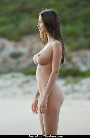 Pleasing Brunette with Pleasing Bare Natural Average Melons on the Beach (Hd 18+ Pic)