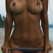 Sexy naked brunette with medium boobies pic