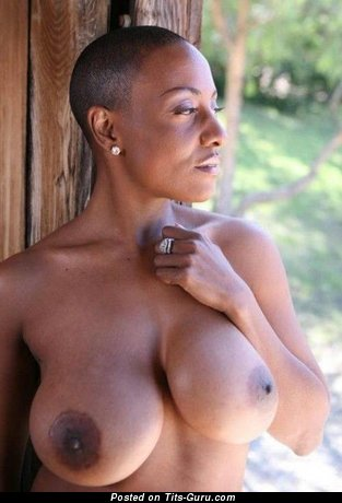 Topless ebony brunette with fake tots pic