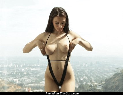 Image. Lana Rhoades - sexy topless brunette with medium natural tittys and big nipples gif