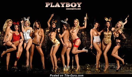 Marvelous Topless Playboy Moll with Marvelous Nude Fake Tittes on the Party (Hd Porn Foto)