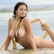 Hot female with big natural breast photo