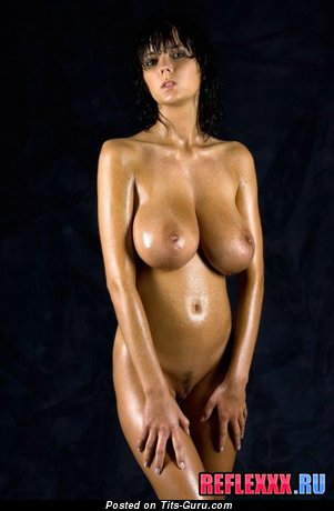 Image. Nude brunette with huge natural tots pic