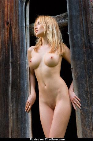Изображение. Фото сексуальной раздетой модели с среднего размера грудью