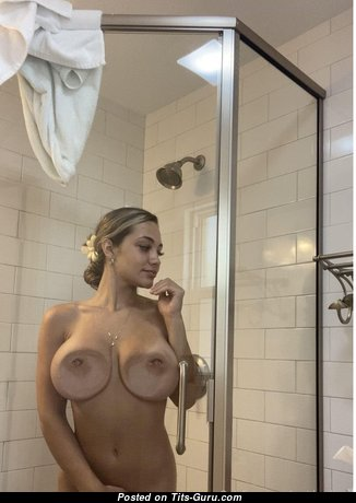 Alluring Wet Blonde Babe with Alluring Defenseless Natural Medium Boobs in the Shower (18+ Wallpaper)
