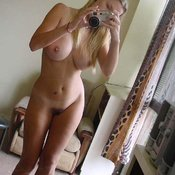 Topless amateur blonde with big natural breast selfie