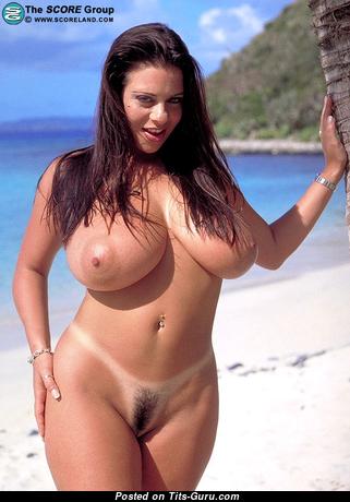Nice Bimbo with Nice Nude Ddd Size Tittys & Tan Lines in Bikini on the Beach (Xxx Image)