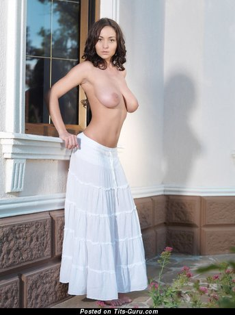 Image. Brunette with big natural boobs image